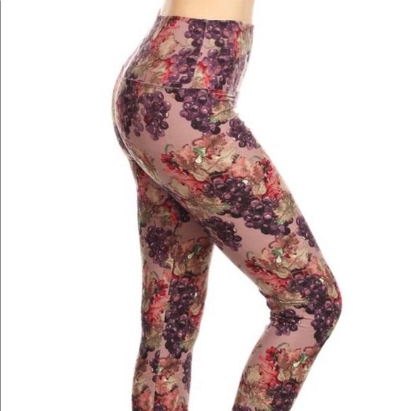 b18d66f5748357 Leggings Depot Pants | Grapes Pattern Butter Soft Leggings | Poshmark